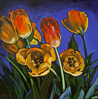 Painting - Tulips Before The Fire by Christine Montague