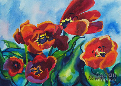 Painting - Tulips Blowing In The Wind by Kathy Braud