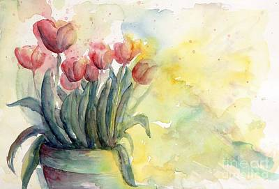 Tulips By Candlelight Watercolor Art Print by CheyAnne Sexton