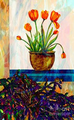 Tulips - Cactus - Still Life  Abstract Art Print by Barbara Griffin