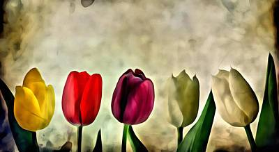 Reds Painting - Tulips Color by Florian Rodarte