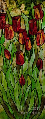 Youghiogheney Glass Glass Art - Tulips by David Kennedy