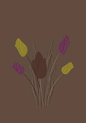 Tulips Drawing - Tulips Design Drawing Embossed  by David Dehner