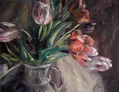 Art Print featuring the painting Tulips by Donna Tuten