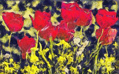 Sakura Painting - Tulips Flowers by Odon Czintos