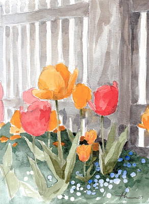 Painting - Tulips From Williamsburg Watercolor Painting by Mike Theuer