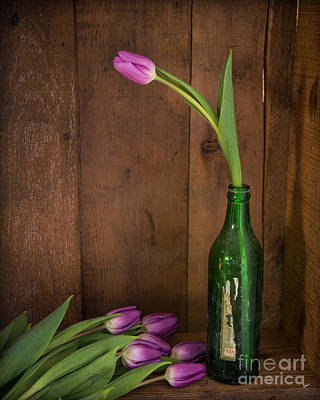 Tulips Green Bottle Art Print