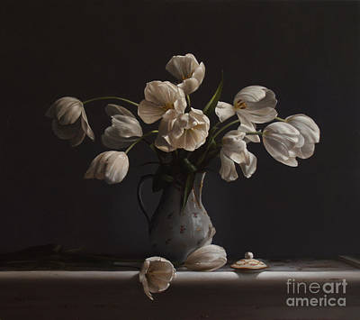 White Flowers Painting - Tulips In A Chocolate Pot by Larry Preston
