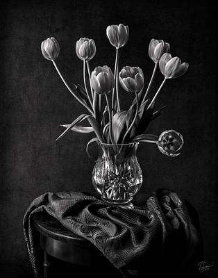 Photograph - Tulips In A Vase Black And White by Endre Balogh