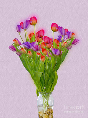Digitally Manipulated Photograph - Tulips In A Vase Of Water by Ilan