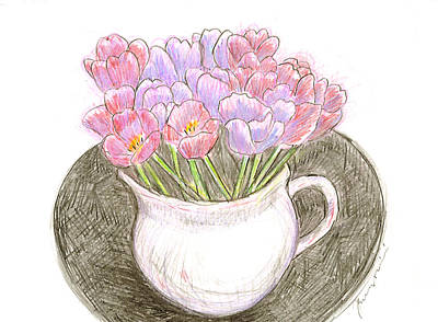 Drawing - Tulips In A White Pitcher by Jean Pacheco Ravinski