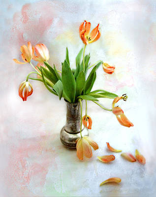 Photograph - Tulips In An Old Silver Pitcher by Louise Kumpf