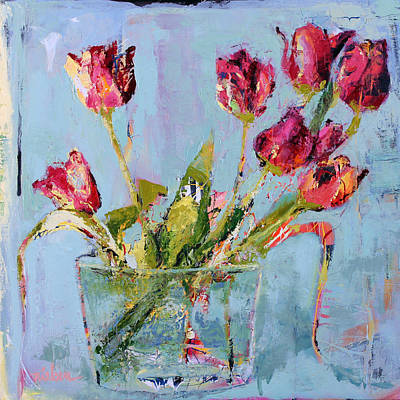 Wall Art - Painting - Tulips In Blue by Leslie Rock
