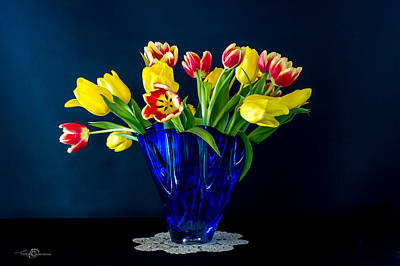 Popstar And Musician Paintings Royalty Free Images - Tulips in Blue Royalty-Free Image by Torbjorn Swenelius