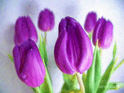 Photograph - Tulips In Digital Oil Impasto by Ed Churchill