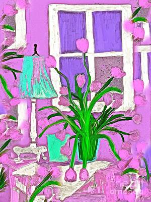 Painting - Tulips In My Home So Shabby Chic by Saundra Myles