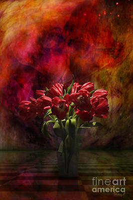 Digital Art - Tulips In Red by Johnny Hildingsson