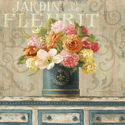 Ranunculus Painting - Tulips In Teal And Gold Hatbox by Danhui Nai