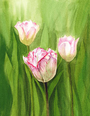 Christmas Greeting Painting - Tulips In The Fog by Irina Sztukowski