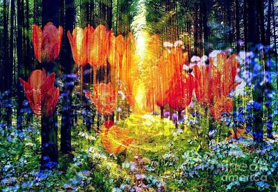 Photograph - Tulips In The Forest by Annie Zeno
