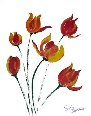 Seattle Drawing - Tulips  by Jalal Gilani