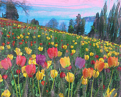 Tulips Lake Art Print by Anthony Caruso