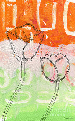 Abstract Flower Wall Art - Mixed Media - Tulips by Linda Woods
