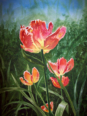 Tulips Watercolor Wall Art - Painting - Tulips On Fire by Irina Sztukowski