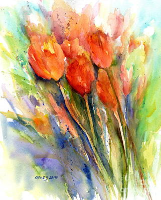 Painting - Tulips On The Way by Christy Lemp