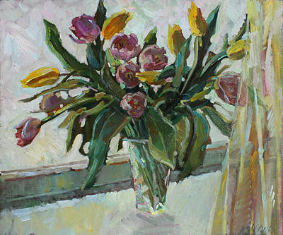 Painting - Tulips On The Winter Window by Juliya Zhukova