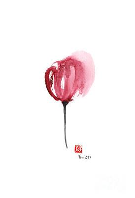 Apan Painting - Tulips Purple Flowers Pink Black Tulip Flower Watercolor Painting by Johana Szmerdt