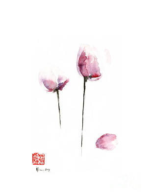 Tulips Watercolor Wall Art - Painting - Tulips Purple Pink Black Grey Flowers Tulip Flower Garden Watercolor Painting by Johana Szmerdt