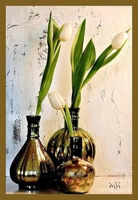 Wrap Digital Art - Tulips Three In Mercury by Marsha Heiken