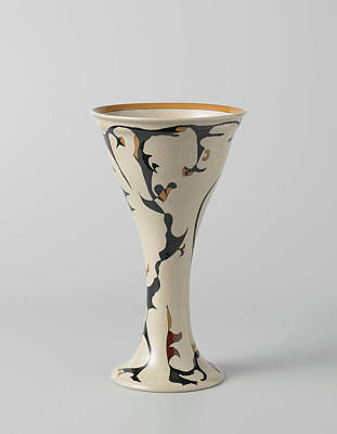 Ram Drawing - Tulips Vase With Decor In Black, Tan And Brown by Litz Collection