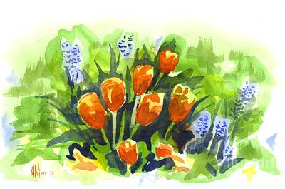Early Spring Painting - Tulips With Blue Grape Hyacinths Explosion by Kip DeVore