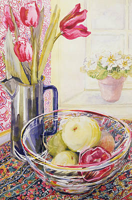 Apple Watercolor Painting - Tulips With Fruit In A Glass Bowl  by Joan Thewsey