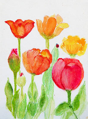 Tulips With Lady Bug Art Print by Ashleigh Dyan Bayer