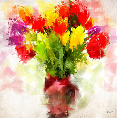 Flower Blooms Digital Art - Tulips With Love by Lourry Legarde