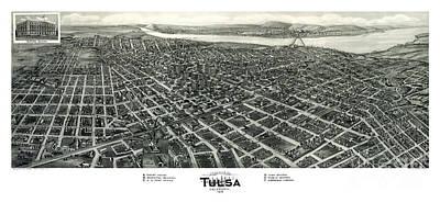 Cartography Painting - Tulsa - Oklahoma - 1918 by Pablo Romero
