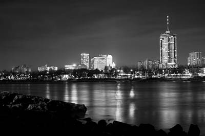 Photograph - Tulsa In Black And White - University Tower View by Gregory Ballos