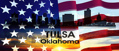 Mixed Media - Tulsa Ok Patriotic Large Cityscape by Angelina Vick