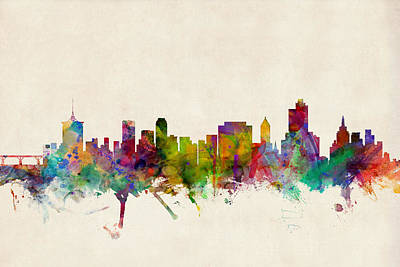 Watercolour Wall Art - Digital Art - Tulsa Oklahoma Skyline by Michael Tompsett