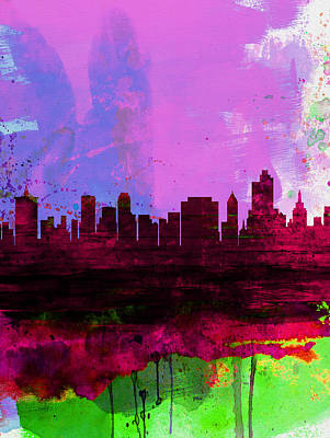 Architectural Painting - Tulsa Watercolor Skyline 2 by Naxart Studio