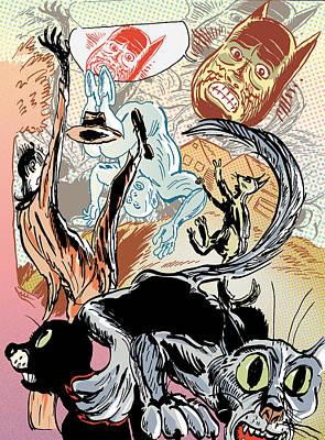 Tumble Cats Art Print by John Brown