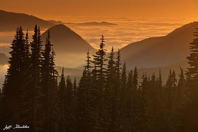 Art Print featuring the photograph Tumtum Peak At Sunset by Jeff Goulden
