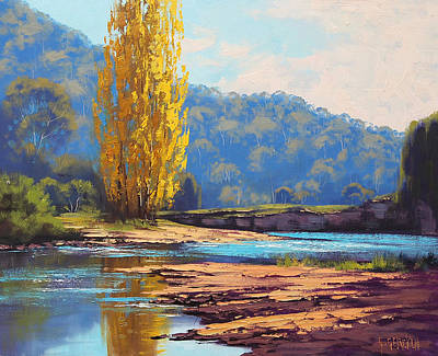 Creek Oil Painting - Tumut River Poplar by Graham Gercken