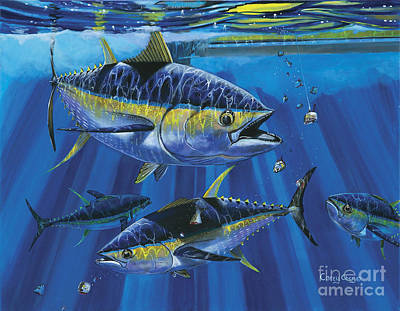 Scuba Painting - Tuna Blitz Off0039 by Carey Chen