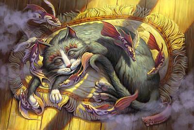 Sleeping Cat Painting - Tuna Dreams by Jeff Haynie