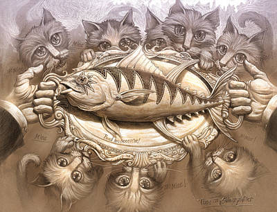 Tuna On A Silver Platter Art Print by Jeff Haynie