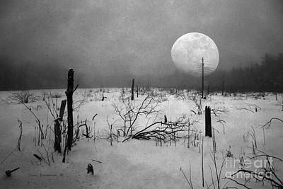 Photograph - Tundra Moon Black And White by John Stephens